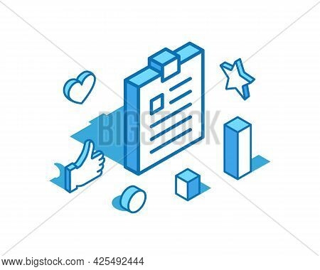 Notepad Blue Line Isometric Illustration. Tablet, Exercise Book, Notebook 3d Banner Template.