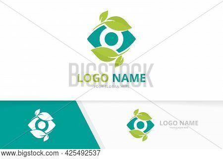 Eye Leaf Logo Design. Creative Nature Optical Logotype Template.