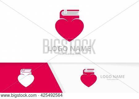 Vector Heart And Book Logo Combination. Unique Bookstore Logotype Design Template.