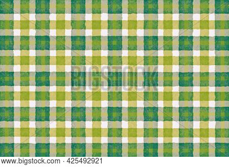 Green Yellow Olive Checkered Old Vintage Background With Blur, Gradient And Grunge Texture. Classic