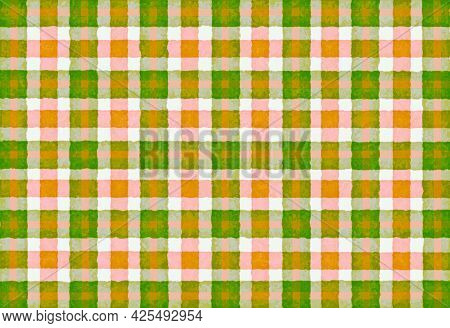 Green Pink Orange Checkered Old Vintage Background With Blur, Gradient And Grunge Texture. Classic C
