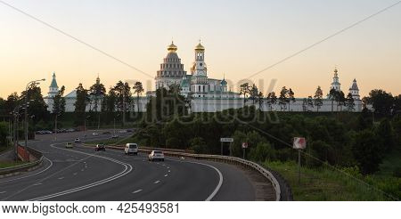 Moscow Region, Russia-june 19, 2021. New Jerusalem Monastery Panoramic View In Summer Evening