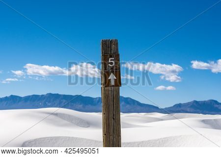 Post For Campsite In White Sands National Park