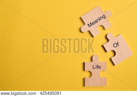 Pieces Of Jigsaw Puzzle Written With Text Meaning Of Life