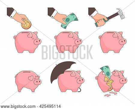 Piggy Bank, Set Of Vector Illustrations. The Piggy Bank Is Full Of Money, It Is Smashed With A Hamme