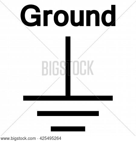 Protective Earth (ground) Symbol Sign, Vector Illustration, Isolate On White Background Label. Eps10