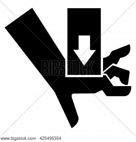 Hand Crush Force From Above Symbol Sign On White Background