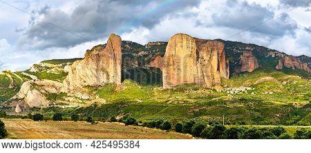 Rainbow Above The Mallos De Riglos, Conglomerate Rock Formations In Huesca - Aragon, Spain