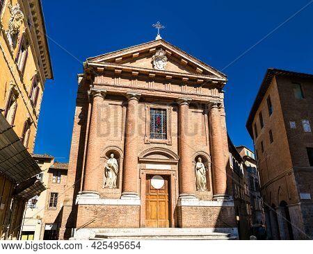 San Cristoforo Church On Piazza Tolomei In Siena - Tuscany, Italy