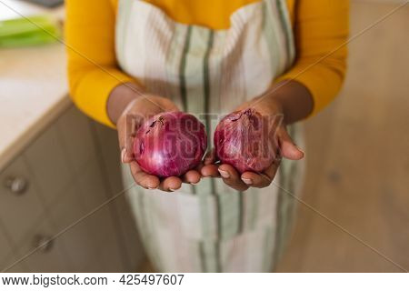 Mid section view of senior african american woman holding onions in kitchen. retreat, retirement and happy senior lifestyle concept.
