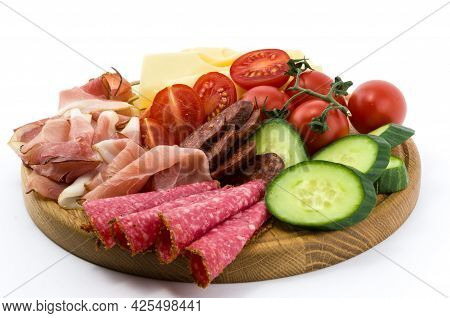 Cold Meals, Chees And Vegetables On Wood Plate, Isolated White Background