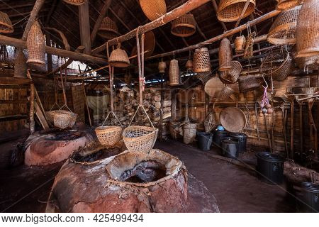 Place And Material Used In Production Ancient  Rack Salt, It Consists Of Terraccotta Pots, Wood Bake