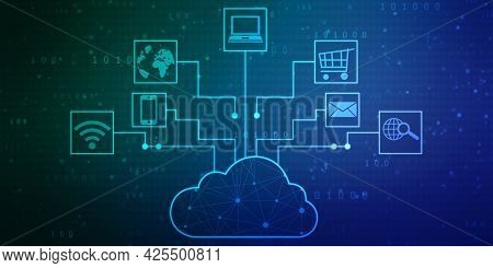 2d Illustration Of Cloud Computing, Digital Cloud Computing Concept Background. Cyber Technology, In