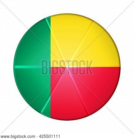 Glass Light Ball With Flag Of Benin. Round Sphere, Template Icon. National Symbol. Glossy Realistic