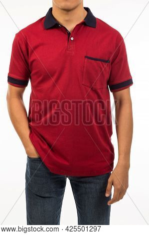 A Guy In Red Wine Scarlet Shirt With Dark Collar Short Sleeve One Pocket Shirt And Denim Jeans On Wh