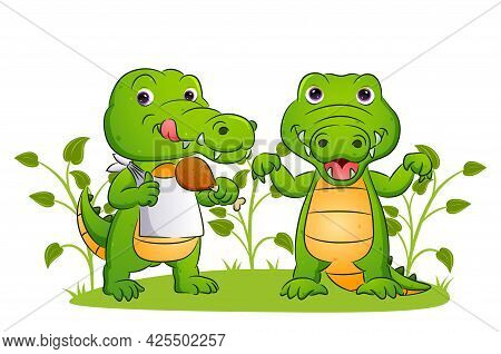 The Couple Of The Crocodile Is Eating The Delicious Chicken In The Yard Of Illustration