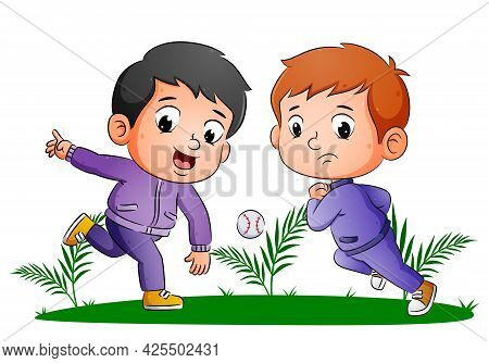 The Couple Boys Are Playing The Baseball And Trying To Catch The Ball Of Illustration