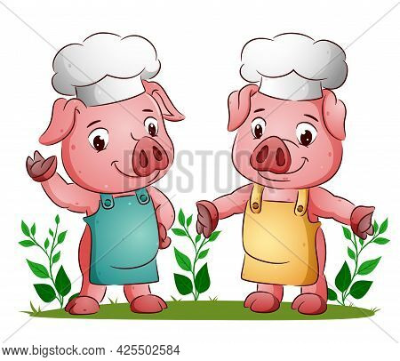 The Couple Of The Pig Is Using The Colorful Apron With The Chef Hat Of Illustration