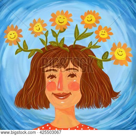 Illustration Of A Cute Beautiful Girl Or Woman That Fosters Good Thoughts And Positive Thinking. Psy