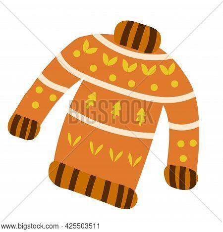 Orange Sweater With Ornament. Seasonal Warm Clothes