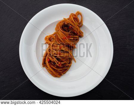 Spaghetti All'assassina Pasta, A Speciality From Bari, Puglia, Italy, Top View