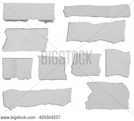 Ten pieces of torn paper on plain background