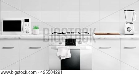 Kitchen Counter Top With Microwave Oven, Gas Stove, Electric Blender And Cutting Board. 3d Design Vi