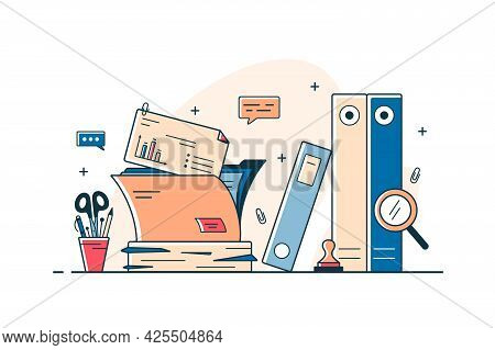 Paper Documents And File Folders Vector Line Concept. Heap Of Research Documents, Official Stamp, Pe