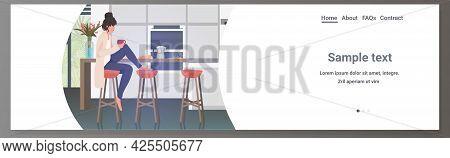 Beautiful Woman Drinking Coffee Girl Sitting On Stool At Kitchen Counter Full Length Horizontal