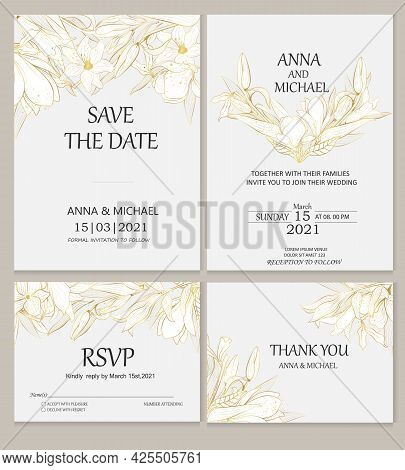 Wedding Invitations. Vector Invitation Cards With Golden Plants On A Gray Background. Plants In The
