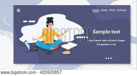 Busy Woman Freelancer Or Student Using Laptop Writing Report During Coronavirus Pandemic Quarantine