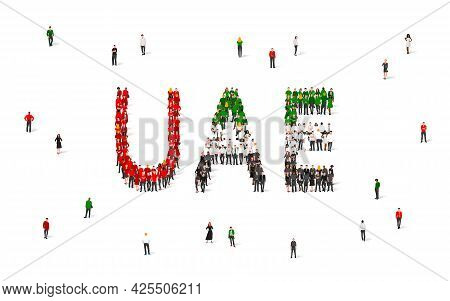 A Crowd Of People Stands In Red, Green, White And Black Clothes, Making Up The Word Uae. Uae Flag Ma