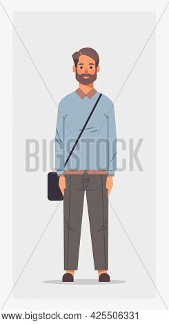 Casual Man With Offfice Bag Male Cartoon Character Standing Pose Full Length Vertical