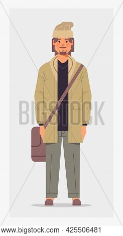 Casual Man With Shoulder Bag Male Cartoon Character Standing Pose Full Length Vertical