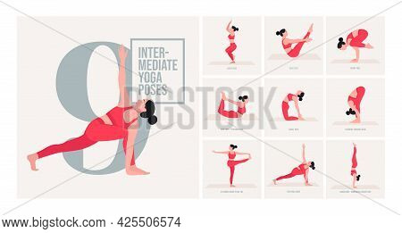 Intermediate Yoga Poses. Young Woman Practicing Yoga Pose. Woman Workout Fitness, Aerobic And Exerci
