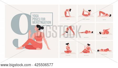 Yoga Poses For Menstruation. Young Woman Practicing Yoga Pose. Woman Workout Fitness, Aerobic And Ex