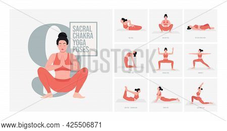 Sacral Chakra Yoga Poses. Young Woman Practicing Yoga Pose. Woman Workout Fitness, Aerobic And Exerc