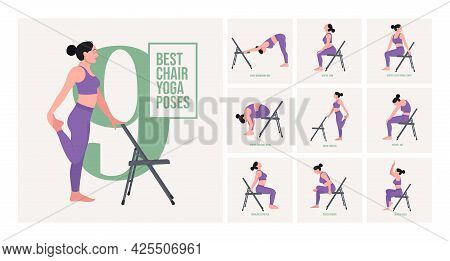 Chair Yoga Poses. Young Woman Practicing Yoga Pose. Woman Workout Fitness, Aerobic And Exercises. Ve