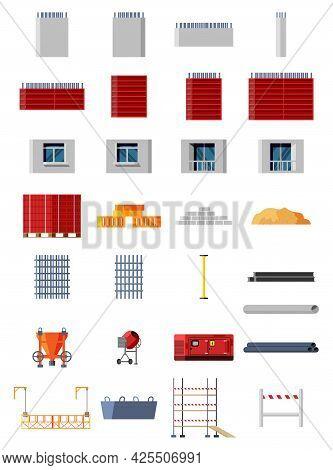 Set Of Construction Materials And Equipment. Bricks, Wooden Planks, Sand, Concrete Mixer, Mobile Pow