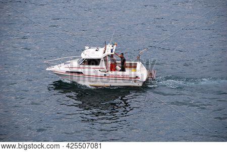 Stresa - Lago Maggiore (lake Maggiore), Italy - August 13, 2017: Motorboat Of The Stresa Fire Brigad