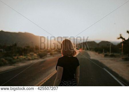 Girl in the Californian desert