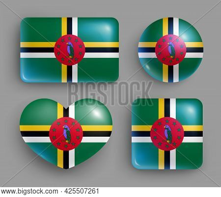 Set Of Glossy Buttons With Dominica Country Flag. American Island State National Flag, Shiny Geometr