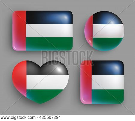 Set Of Glossy Buttons With Uae Country Flag. Middle East Country National Flag, Shiny Geometric Shap