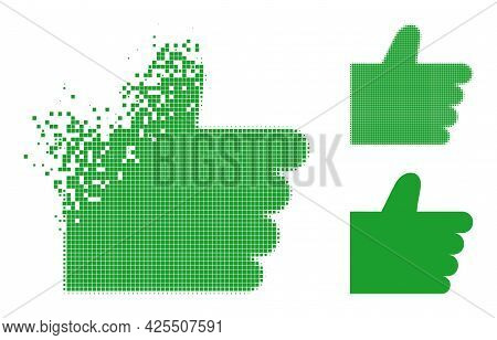 Destructed Dot Thumb Up Icon With Halftone Version. Vector Destruction Effect For Thumb Up Symbol. P