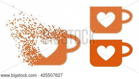 Disappearing Dotted Lovely Cup Icon With Halftone Version. Vector Destruction Effect For Lovely Cup