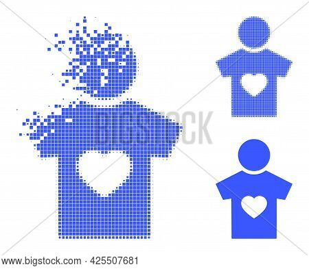 Disappearing Dotted Boyfriend Pictogram With Halftone Version. Vector Wind Effect For Boyfriend Pict