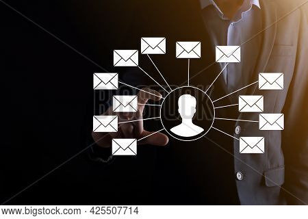 Male Hand Holding Letter Icon,email Icons .contact Us By Newsletter Email And Protect Your Personal