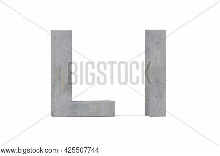 Concrete 3d Letter L - Three Dimensional Uppercase And Lowercase L Covered With Concrete Texture On
