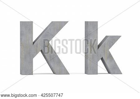 Concrete 3d Letter K - Three Dimensional Uppercase And Lowercase K Covered With Concrete Texture On