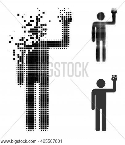 Decomposed Pixelated Man Fist Up Icon With Halftone Version. Vector Destruction Effect For Man Fist